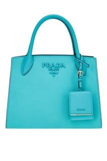 Бирюзовая кожаная сумка Monochrome Prada