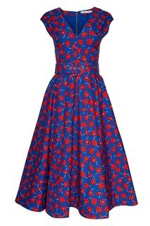 Хлопковое платье с цветами Alice + Olivia