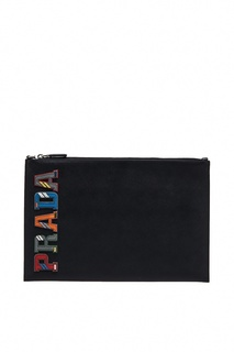 Кожаный клатч-папка с логотипом Prada