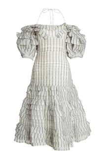 Платье в клетку из шелка и льна Zimmermann