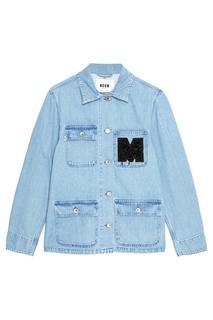 Джинсовая куртка с нашивкой Msgm