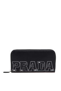 Черный кошелек с логотипом Prada