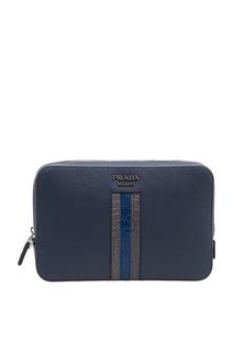 Синяя кожаная сумка Prada