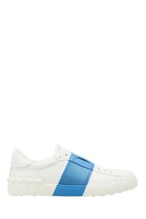 Белые кеды с синей полосой Valentino