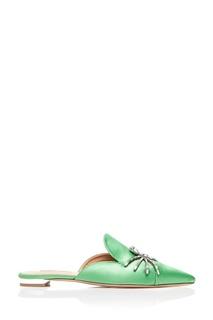 Зеленые сатиновые слиперы Crystal Spider Flat Aquazzura