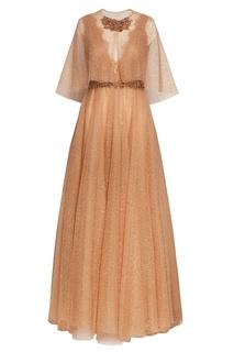 Бежевое платье с блестками Marchesa
