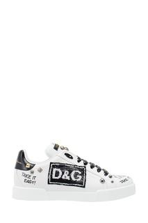 Белые кроссовки с декором Dolce&;Gabbana