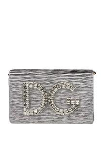 Клатч с логотипом из кристаллов Dolce&;Gabbana