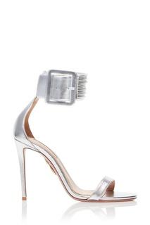 Серебристые босоножки с пряжкой Casablanca Sandal 105 Aquazzura