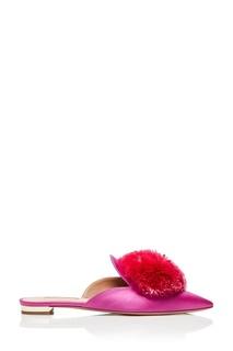 Розовые слиперы с помпоном Powder Puff Flat Aquazzura