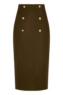Зеленая юбка-миди с пуговицами T Skirt