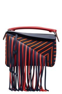 Кожаная сумка с бахромой Puzzle Loewe