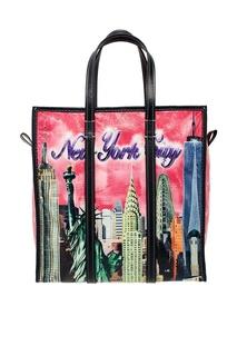Кожаная сумка с принтом Bazar New York S Balenciaga