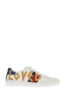 Белые кожаные кроссовки с нашивками Ace Gucci
