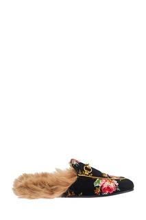 Бархатные слиперы с цветами Princetown Gucci