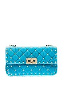 Голубая сумка из стеганого бархата Rockstud Spike Valentino