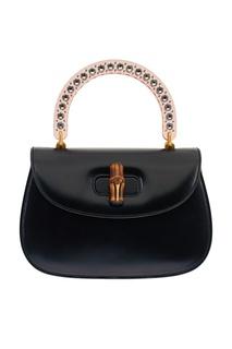 Кожаная сумка с прозрачной ручкой Gucci