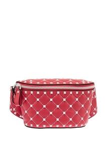 Поясная сумка из розовой кожи Free Rockstud Spike Valentino