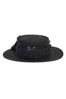 Черная соломенная шляпа Kiki Maison Michel
