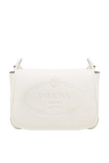 Белая сумка с тисненым логотипом Prada
