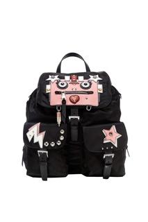 Текстильный рюкзак с аппликациями Prada