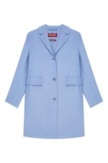 Прямое голубое пальто из шерсти Max Mara