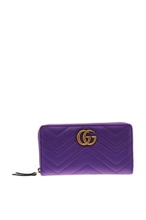 Стеганый фиолетовый кошелек Gucci
