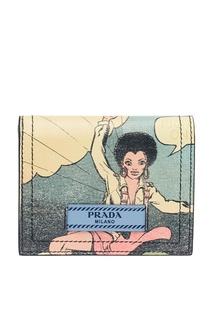 Кожаный складной кошелек с принтом Prada