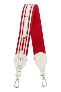 Красный текстильный ремень для сумки Prada