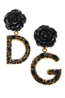Серьги-клипсы с розами Dolce&;Gabbana