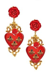 Серьги-клипсы с розами и сердцами Dolce&;Gabbana
