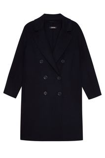 Синее двубортное пальто из шерсти Max Mara
