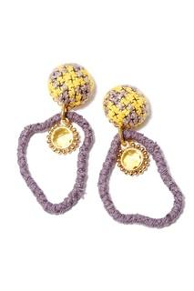 Плетеные серьги из фиолетовых нитей Unique