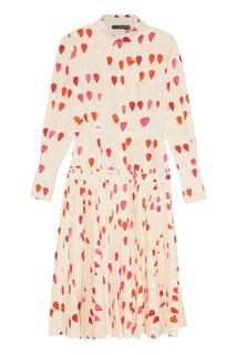 Шелковое платье-рубашка с плиссе Alexander Mc Queen