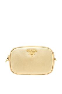 Поясная сумка из золотистой сафьяновой кожи Prada