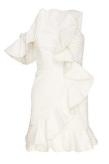 Белое кружевное платье с воланами Self Portrait