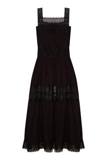 Черное платье с ажурной отделкой Charo Ruiz