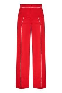 Красные хлопковые брюки с окантовками Valentino