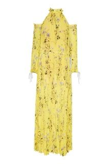 Желтое плиссированное платье с цветами Self Portrait