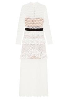 Белое платье-макси и комбинированного кружева Self Portrait