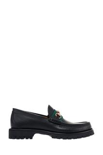 Черные кожаные лоферы с пряжкой Horsebit Gucci