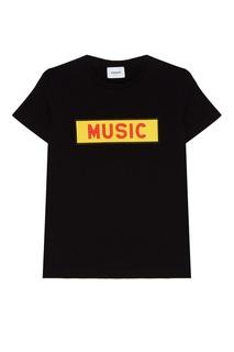 Черная футболка с контрастной аппликацией Dondup
