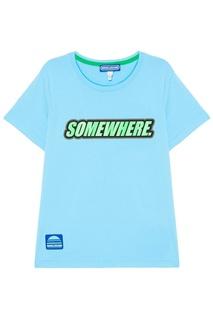 Голубая футболка из хлопка Somewhere Marc Jacobs