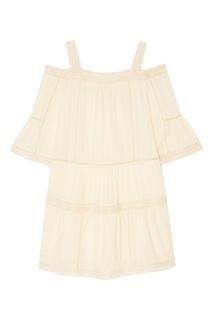 Белое хлопковое платье с кружевом Paul &; Joe Sister