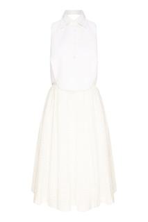 Белое платье с ажурной отделкой Erika Cavallini