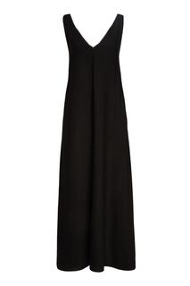Черное платье-макси с отделкой цепочками Tegin