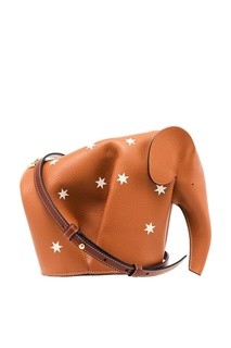 Сумка из коричневой кожи со звездами Elephant Loewe