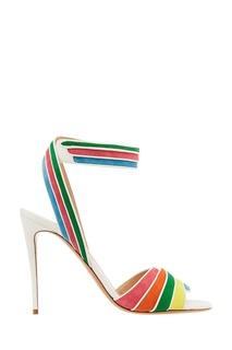 Босоножки с разноцветными полосками Valentino