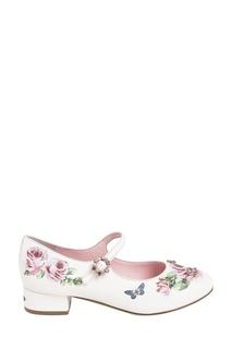 Розовые туфли с цветочным принтом Dolce&Gabbana Children