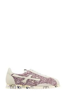 Кожаные кроссовки с розовым глиттером Hattorid Premiata